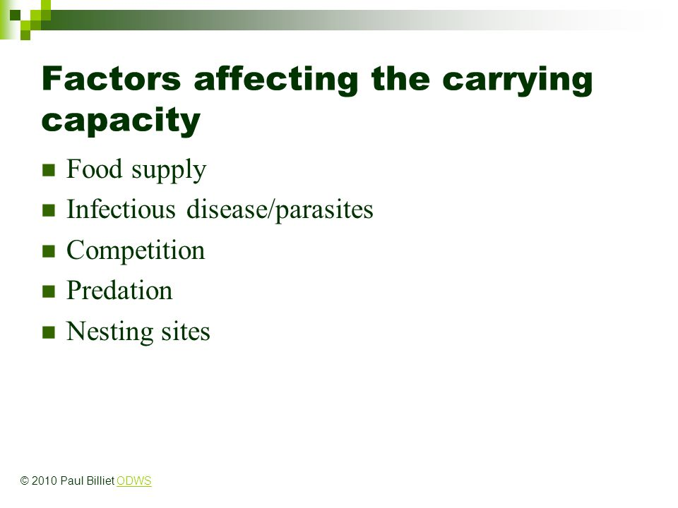 Factors affecting the carrying capacity