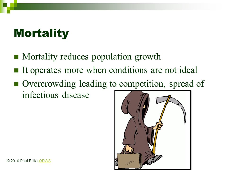 Mortality Mortality reduces population growth