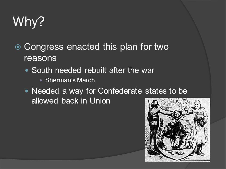 Why Congress enacted this plan for two reasons