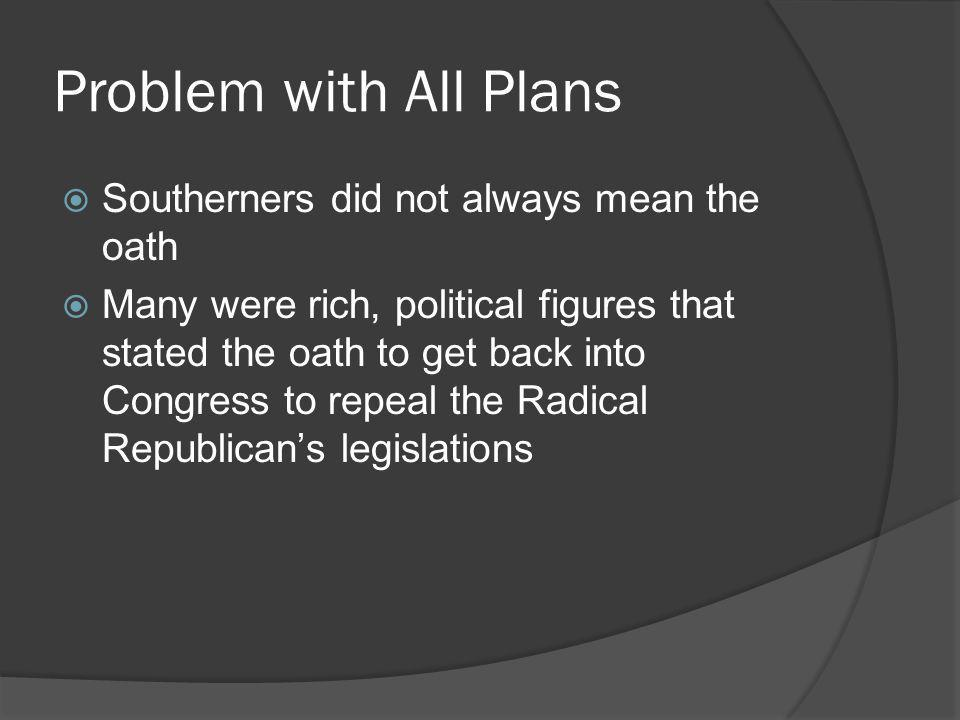 Problem with All Plans Southerners did not always mean the oath