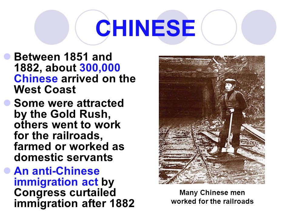 Many Chinese men worked for the railroads