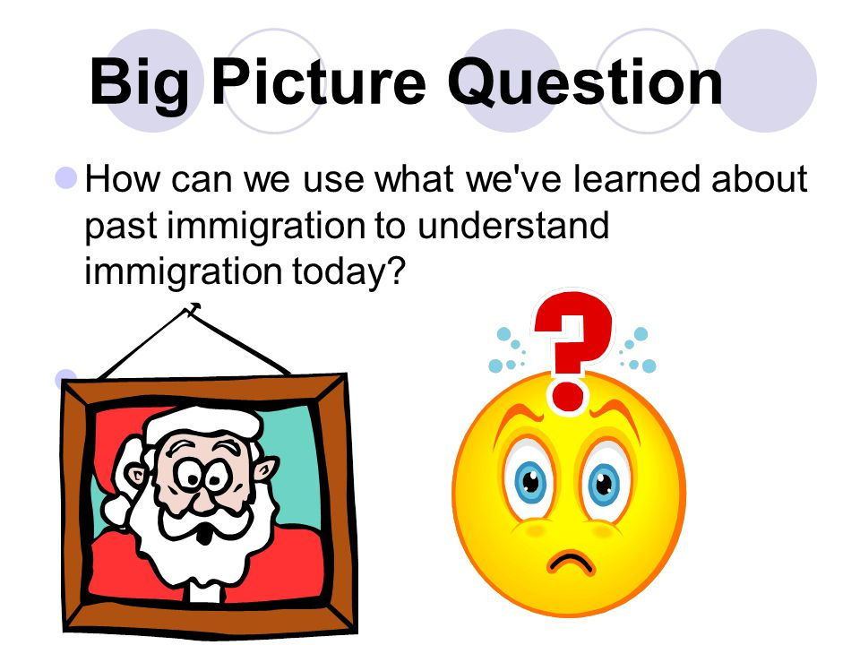 Big Picture Question How can we use what we ve learned about past immigration to understand immigration today