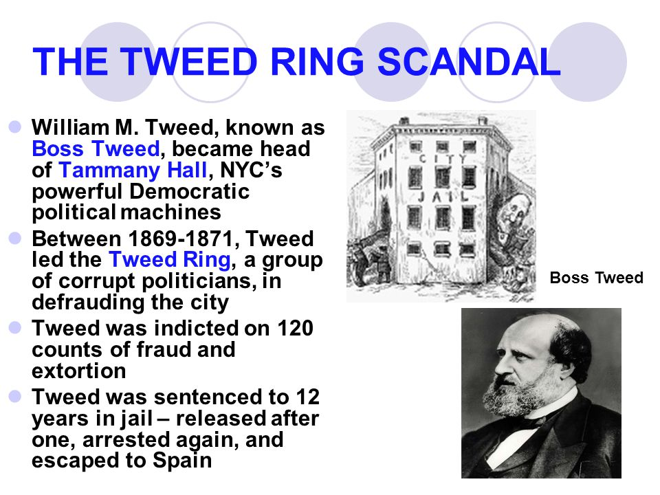 THE TWEED RING SCANDAL William M. Tweed, known as Boss Tweed, became head of Tammany Hall, NYC's powerful Democratic political machines.