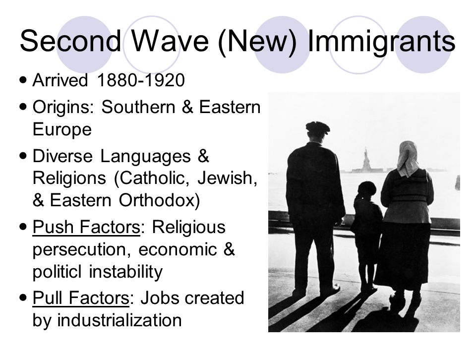 Second Wave (New) Immigrants