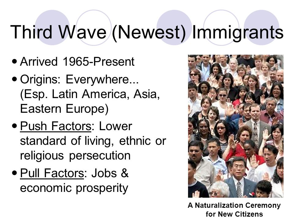 Third Wave (Newest) Immigrants