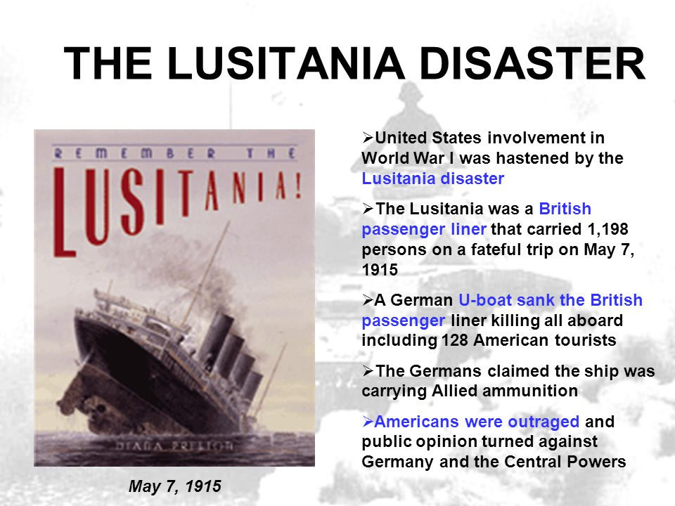 THE LUSITANIA DISASTER