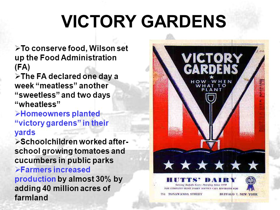 VICTORY GARDENS To conserve food, Wilson set up the Food Administration (FA)
