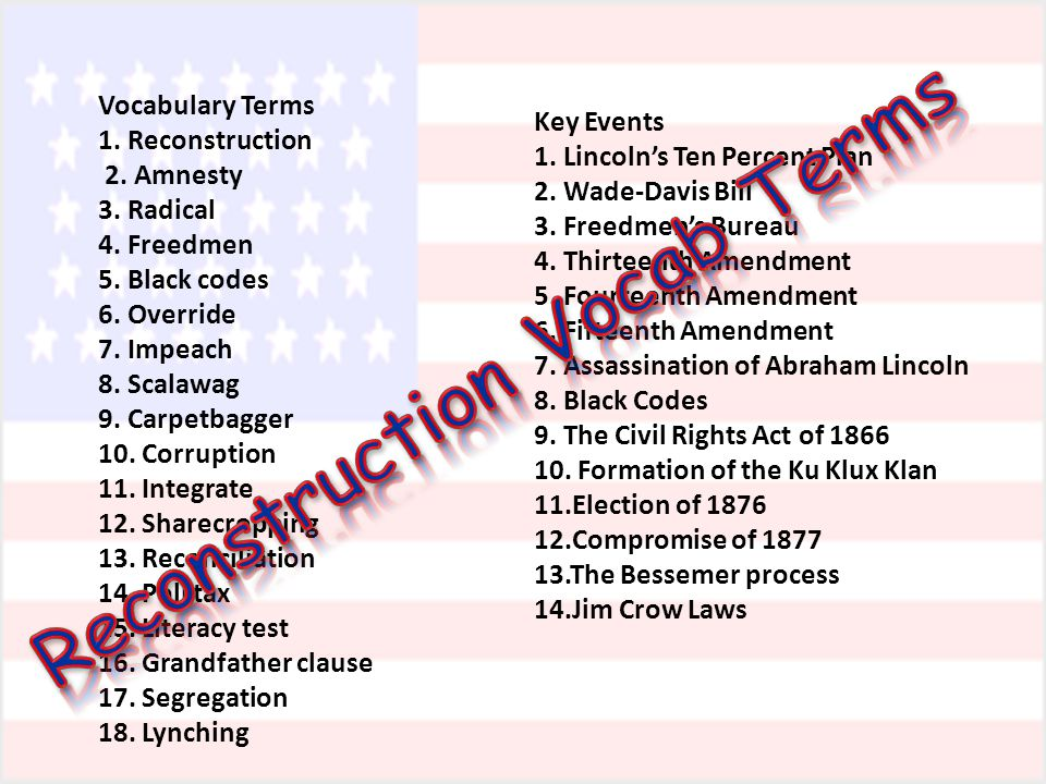 Reconstruction Vocab Terms
