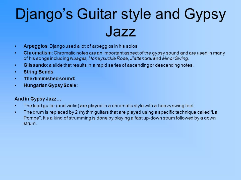 Django's Guitar style and Gypsy Jazz