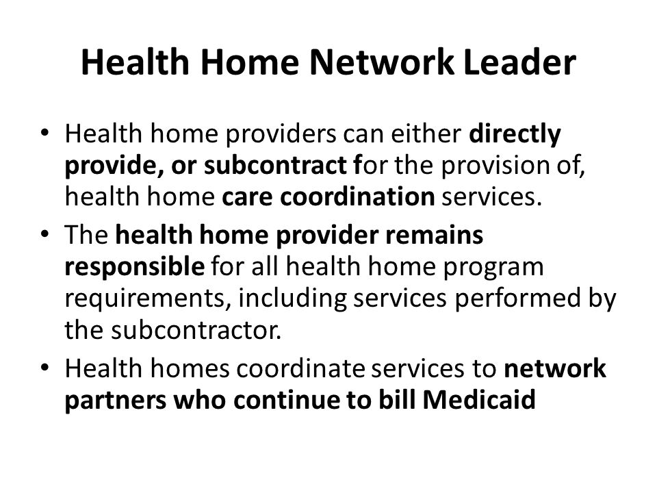 Health Home Network Leader