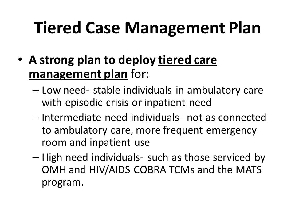 Tiered Case Management Plan