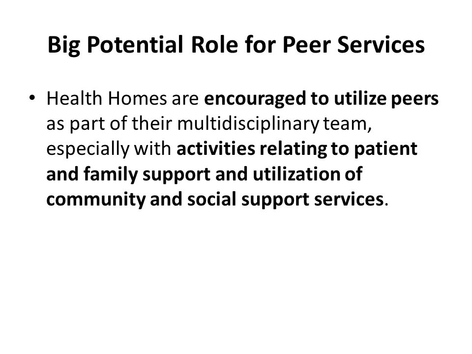 Big Potential Role for Peer Services