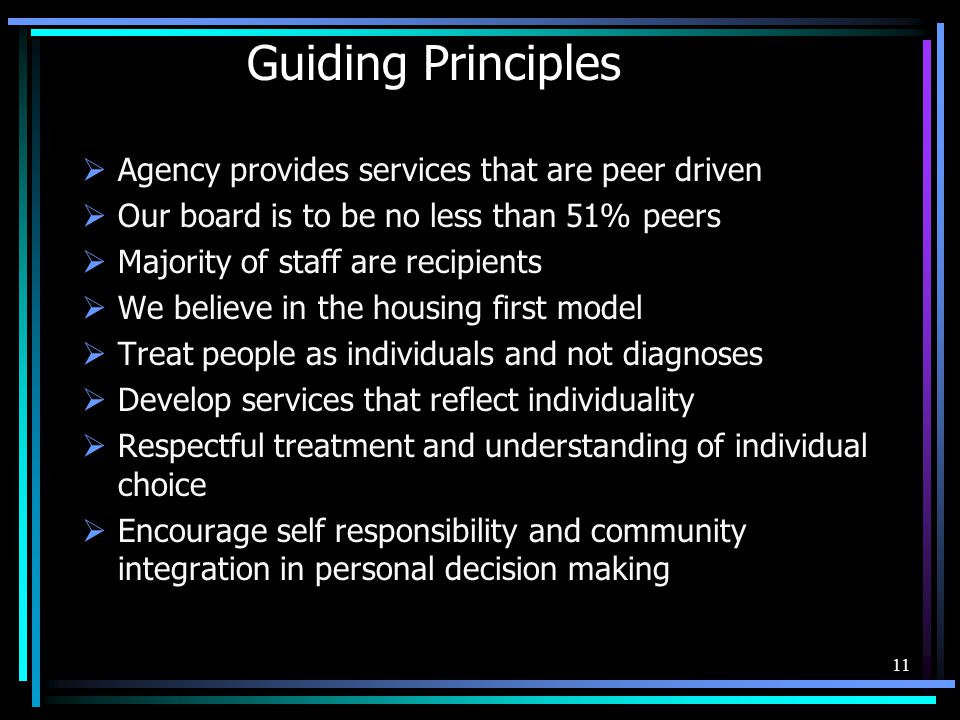 Guiding Principles Agency provides services that are peer driven