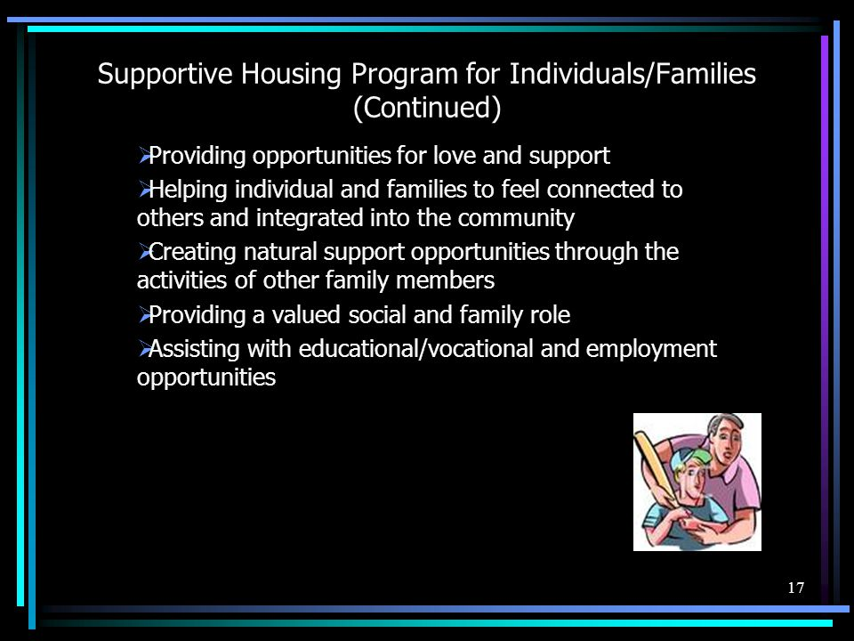 Supportive Housing Program for Individuals/Families (Continued)