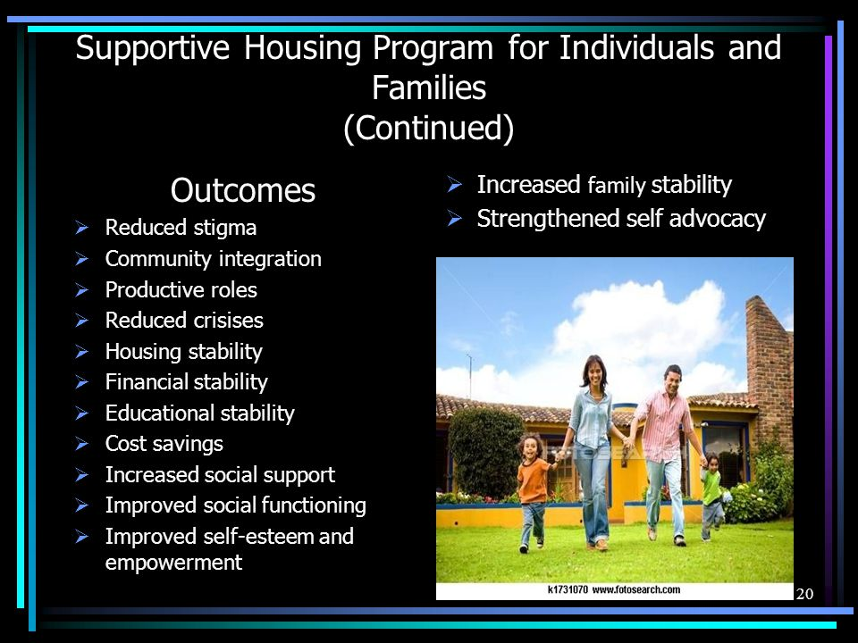 Supportive Housing Program for Individuals and Families (Continued)