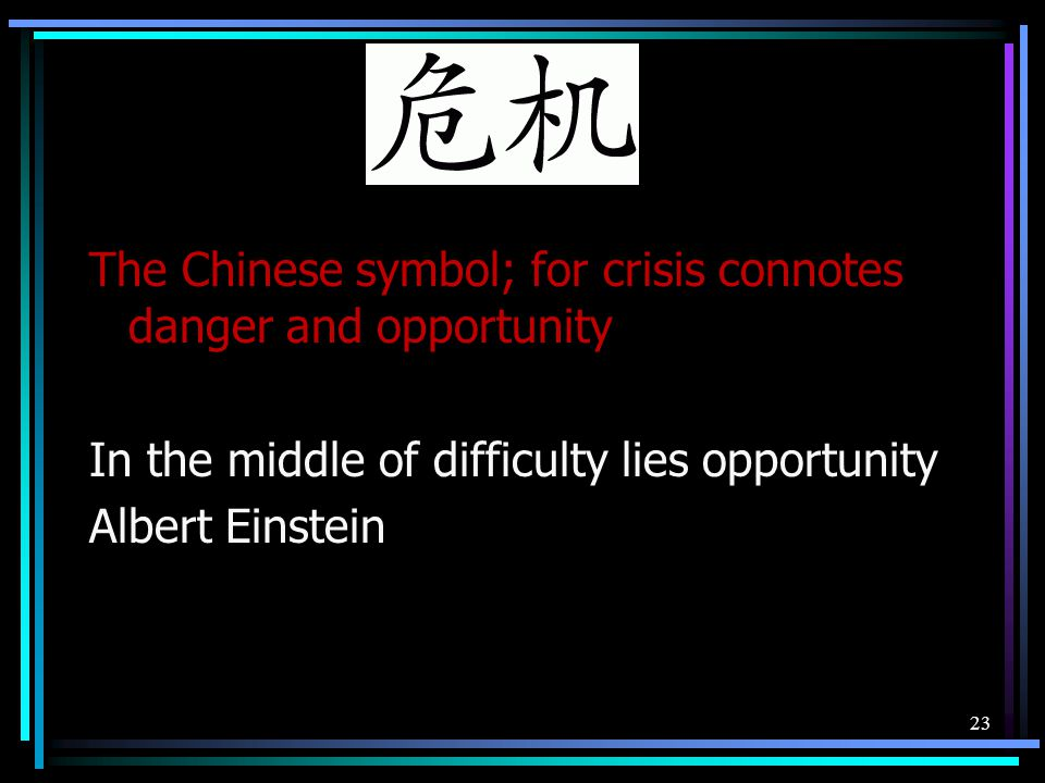 The Chinese symbol; for crisis connotes danger and opportunity In the middle of difficulty lies opportunity Albert Einstein