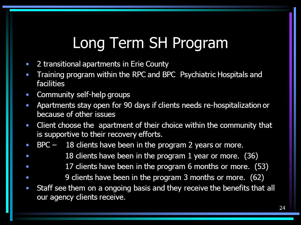 Long Term SH Program 2 transitional apartments in Erie County