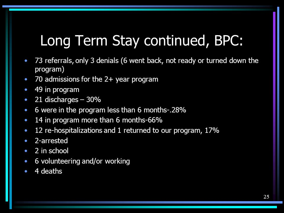 Long Term Stay continued, BPC: