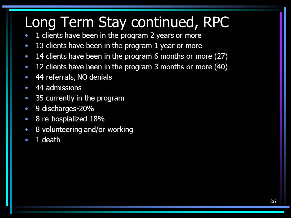 Long Term Stay continued, RPC