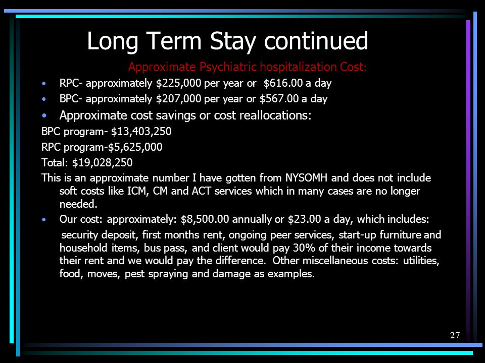 Long Term Stay continued
