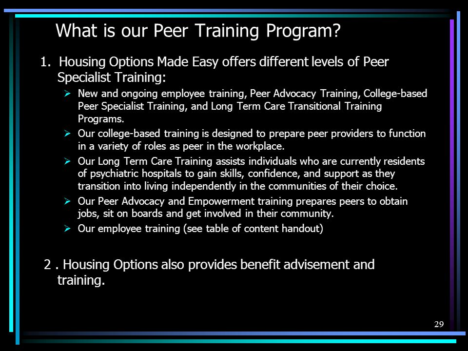 What is our Peer Training Program