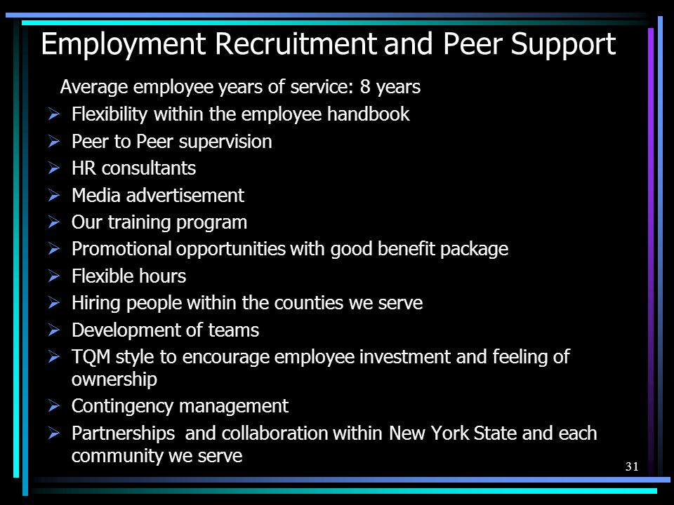 Employment Recruitment and Peer Support