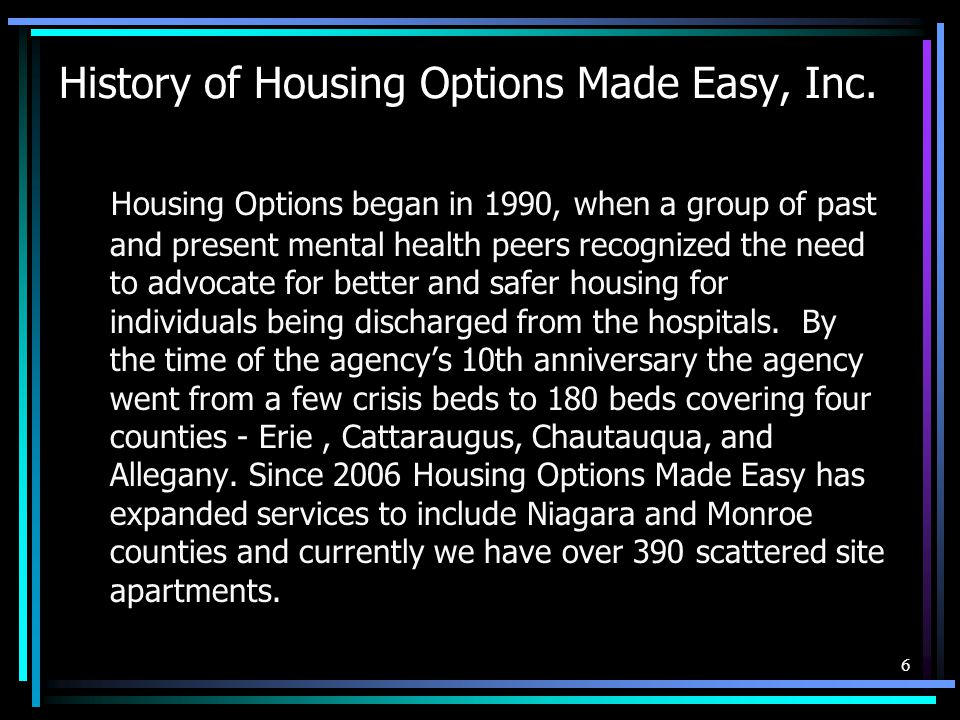 History of Housing Options Made Easy, Inc.
