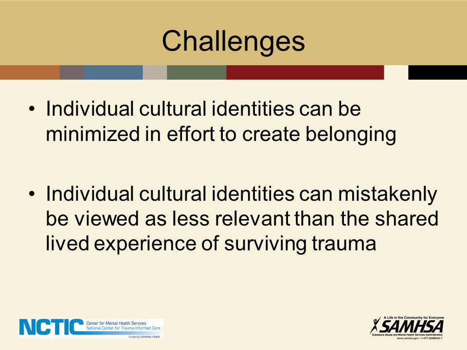 Challenges Individual cultural identities can be minimized in effort to create belonging.