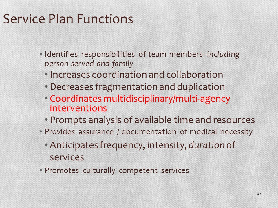 Service Plan Functions