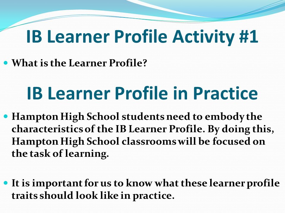 IB Learner Profile Activity #1