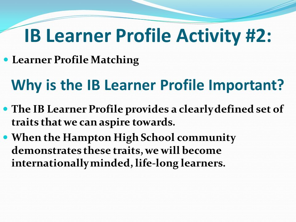 IB Learner Profile Activity #2:
