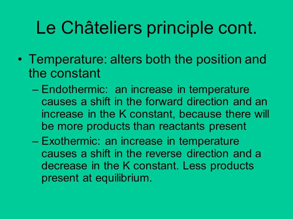 Le Châteliers principle cont.