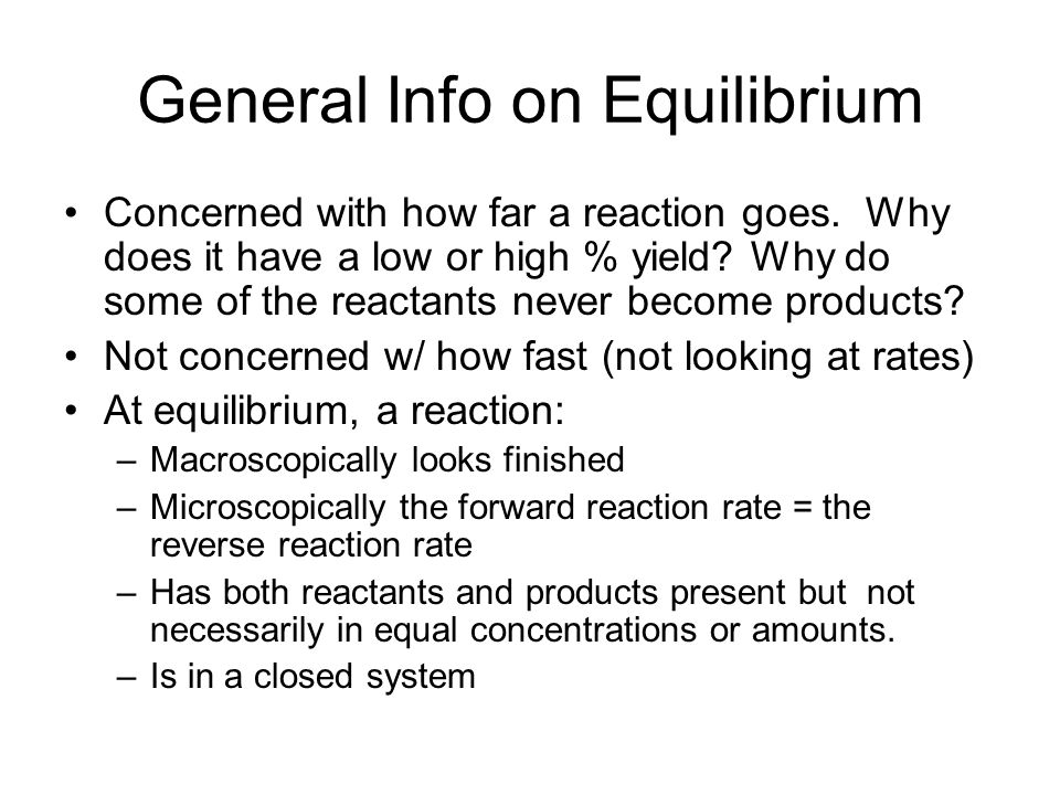 General Info on Equilibrium