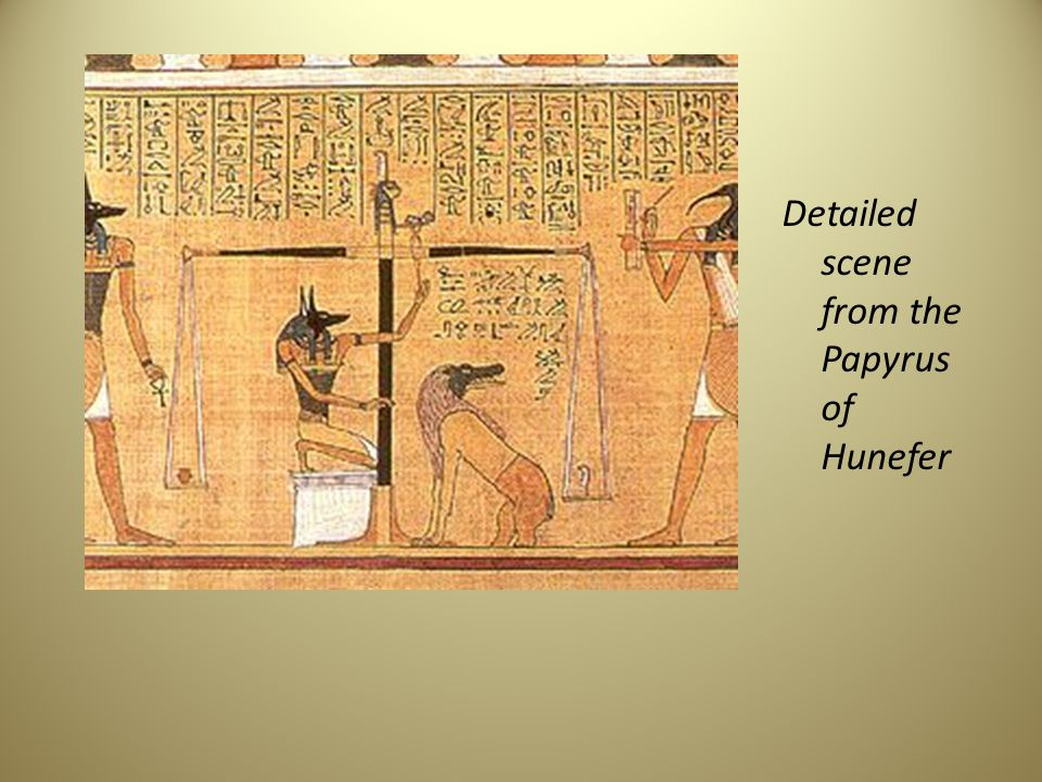 Detailed scene from the Papyrus of Hunefer