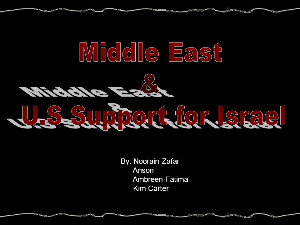 Middle East & U.S Support for Israel By: Noorain Zafar Anson