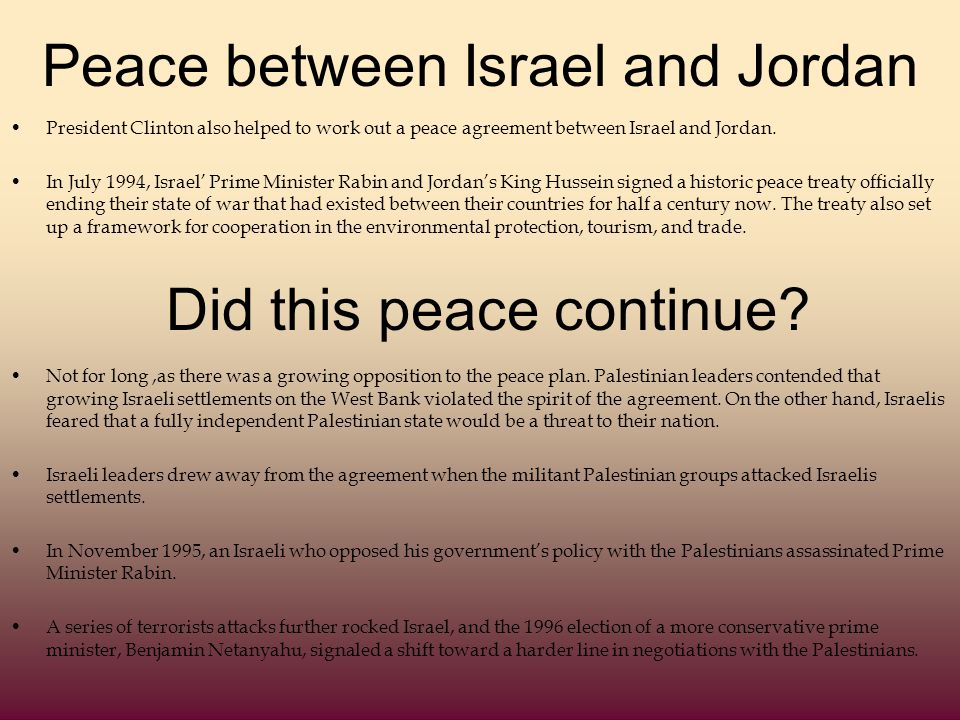 Peace between Israel and Jordan