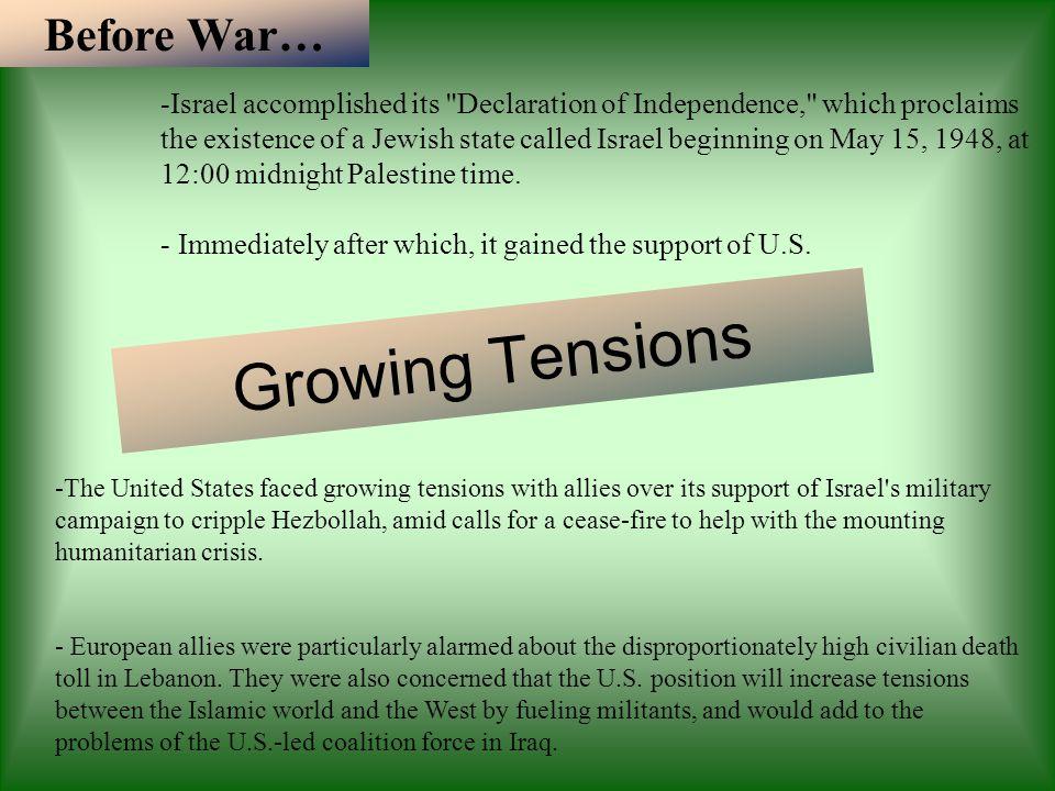 Growing Tensions Before War…