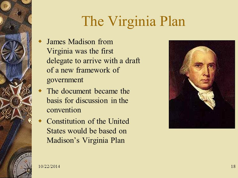 an analysis of the virginia plan in the united states History of the united states constitution  the nationalist majority, soon to be called federalists, put forth the virginia plan, a consolidated government based on proportional representation among the states by population.