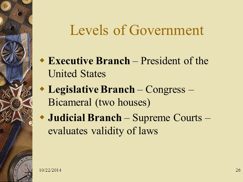 Levels of Government Executive Branch – President of the United States