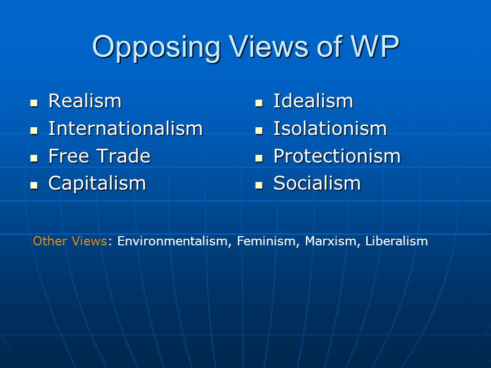 Opposing Views of WP Realism Internationalism Free Trade Capitalism