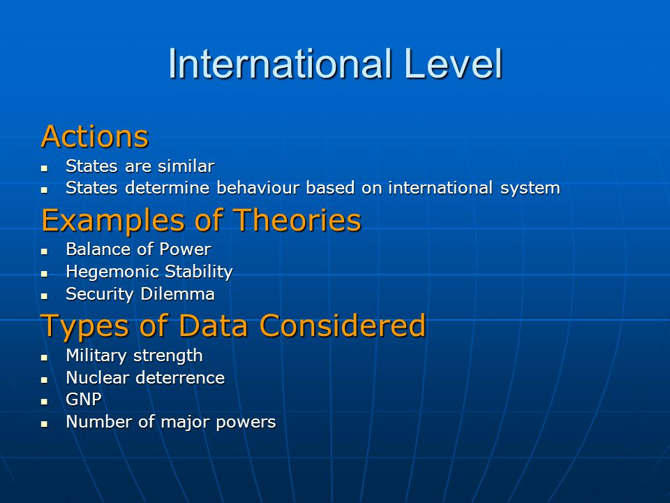 International Level Actions Examples of Theories