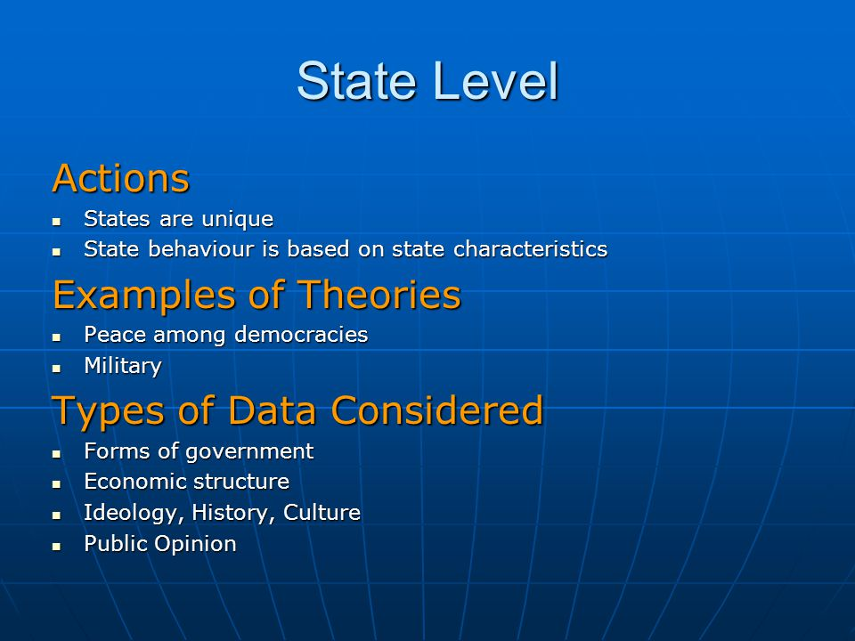 State Level Actions Examples of Theories Types of Data Considered