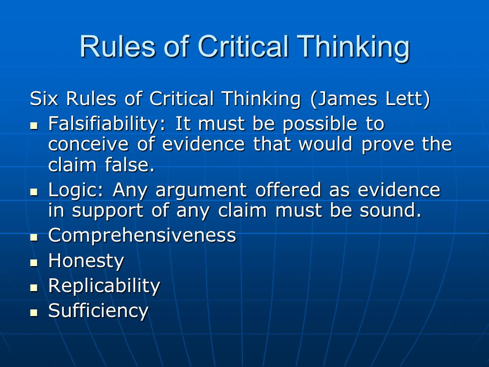 Rules of Critical Thinking