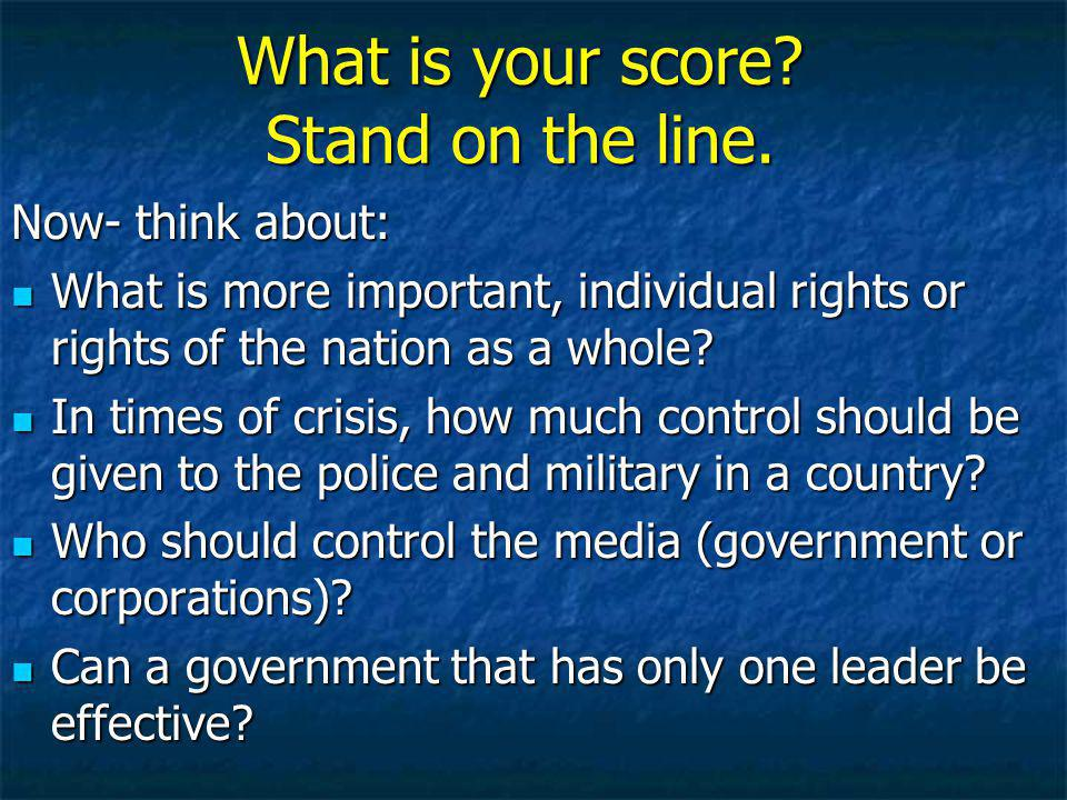 What is your score Stand on the line.
