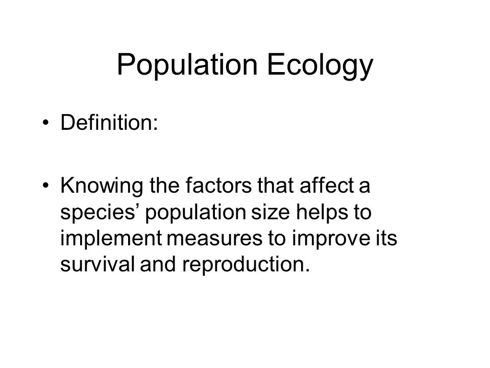 Population Ecology Definition: