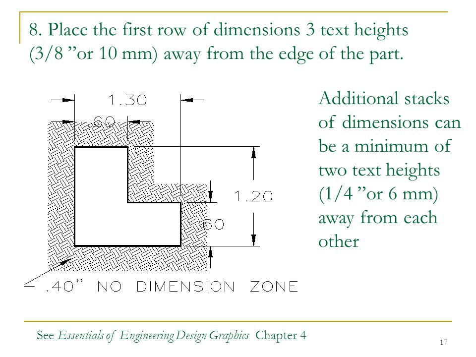 8. Place the first row of dimensions 3 text heights (3/8 or 10 mm) away from the edge of the part.
