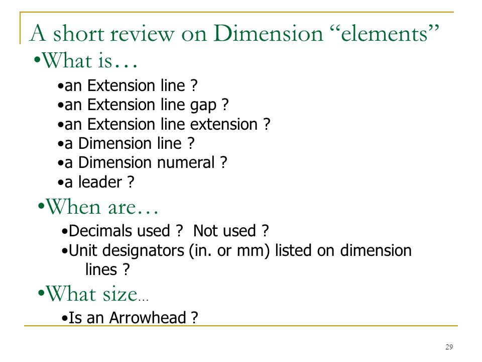 A short review on Dimension elements