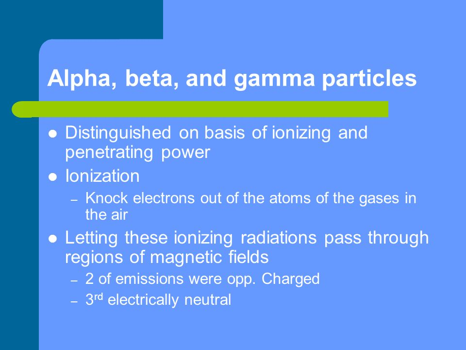 Alpha, beta, and gamma particles