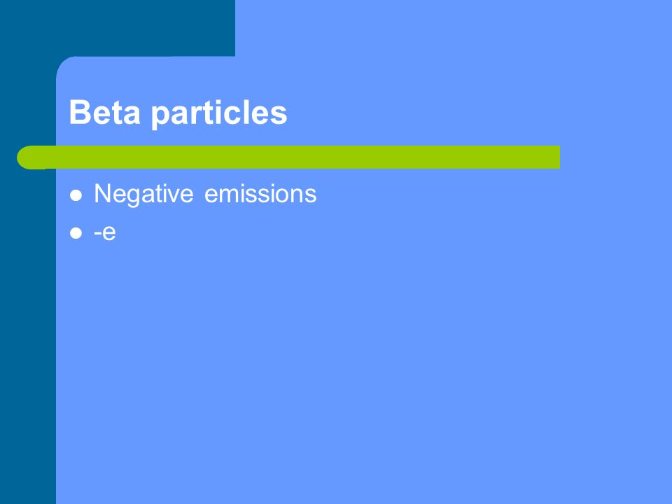 Beta particles Negative emissions -e