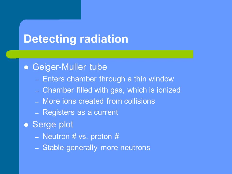 Detecting radiation Geiger-Muller tube Serge plot